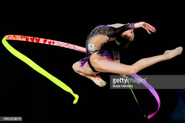 Anna Kamenshchikova of Belarus competes in Women's Individual All-Around Final during day 10 of Buenos Aires Youth Olympic Games at Youth Olympic...