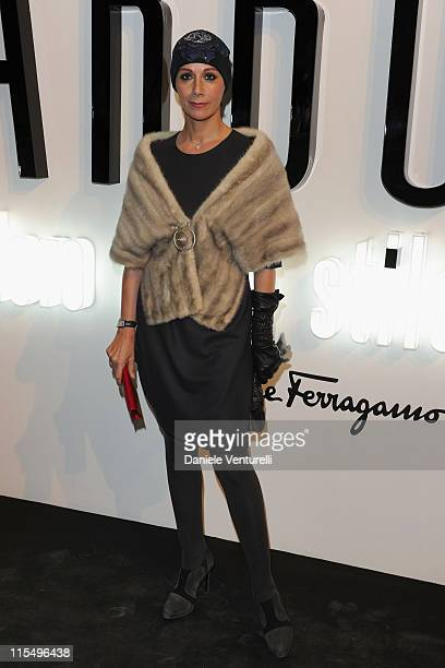 "Anna Kanakis attends the Salvatore Ferragamo ""Greta Garbo"" exhibition at the Triennale Museum during Milan Fashion Week Womenswear A/W 2010 on..."