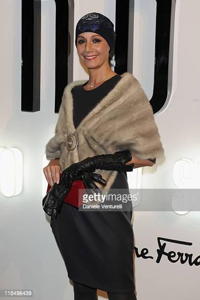 "Anna Kanakis attends the Salvatore Ferragamo ""Greta Garbo"" exhibition at the Triennale Museum during Milan Fashion Week Womenswear A/W 2010 on..."