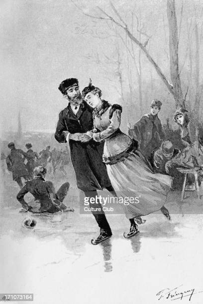 Anna Karenina Anna Karenina by Lev Nikolayevich Tolstoy Illustrations by Paul Frenzeny Caption reads 'Levin and Kitty on the ice' LNT Russian...