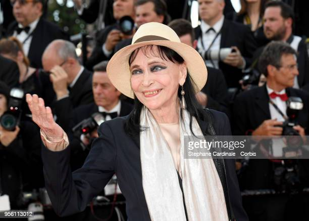 Anna Karina attends the screening of Everybody Knows and the opening gala during the 71st annual Cannes Film Festival at Palais des Festivals on May...