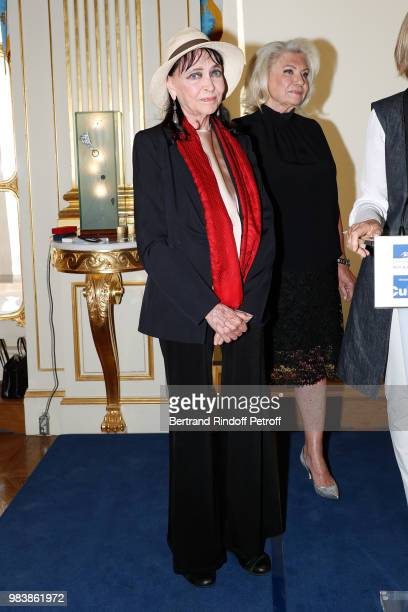 Anna Karina decorated 'Chevalier de la Legion d'Honneur' and Elisabeth Dauchy decorated 'Officier des Arts et des Lettres' attend Decorations are...