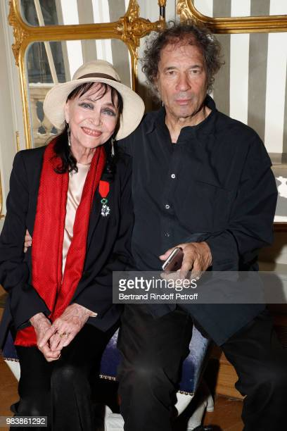 Anna Karina decorated 'Chevalier de la Legion d'Honneur' and her husband Maurice Cooks attend Decorations are given at 'Ministere de La Culture' on...