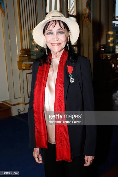 Anna Karina decorated Chevalier de la Legion d'Honneur attends Decorations are given at Ministere de La Culture on June 25 2018 in Paris France