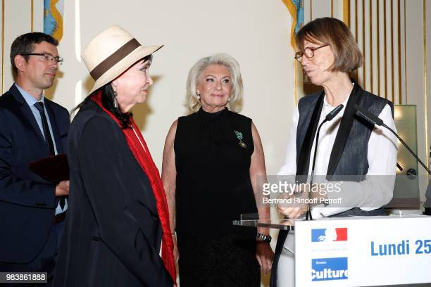Anna Karina decorated 'Chevalier de la Legion d'Honneur' Elisabeth Dauchy decorated 'Officier des Arts et des Lettres' and French Minister of Culture...