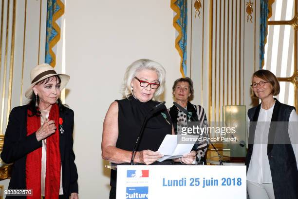 Anna Karina decorated 'Chevalier de la Legion d'Honneur' Elisabeth Dauchy decorated 'Officier des Arts et des Lettres' Madeline Fontaine decorated...
