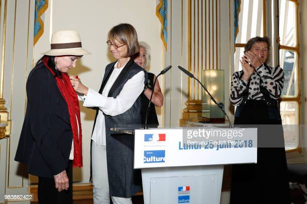 Anna Karina decorated 'Chevalier de la Legion d'Honneur' French Minister of Culture Francoise Nyssen Elisabeth Dauchy decorated 'Officier des Arts et...