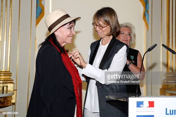 Anna Karina decorated 'Chevalier de la Legion d'Honneur' French Minister of Culture Francoise Nyssen and Elisabeth Dauchy decorated 'Officier des...