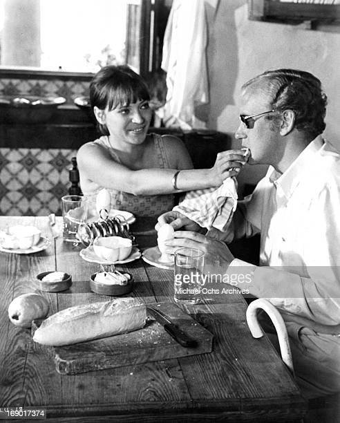 Anna Karina wiping Nicol Williamson face during a meal in a scene from the film 'Laughter in the Dark' 1969