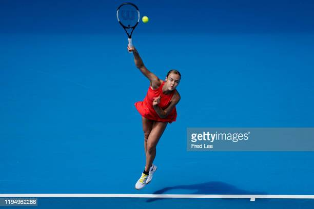 Anna Karolina Schmiedlova of Slovakia in action during her Women's Singles first round match against Belinda Bencic of Switzerland on day two of the...