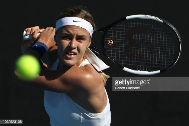 Anna Karolina Schmiedlova of Slovakia plays a shot during her semifinal match against Belinda Bencic of Switzerland during day seven of the 2019...