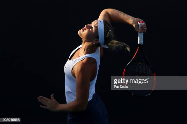 Anna Karolina Schmiedlova of Slovakia serves in her first round match against Daria Kasatkina of Russia on day one of the 2018 Australian Open at...