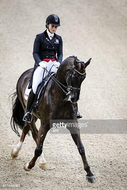 Anna Kasprzak, of Denmark rides her horse Donnperignon during the Reem Acra FEI World Cup dressage Grand Prix event of the Gothenburg Horse Show at...