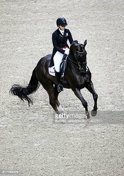 Anna Kasprzak of Denmark rides her horse Donnperignon during the Reem Acra FEI World Cup Dressage Final II event during the Gothenburg Horse Show at...