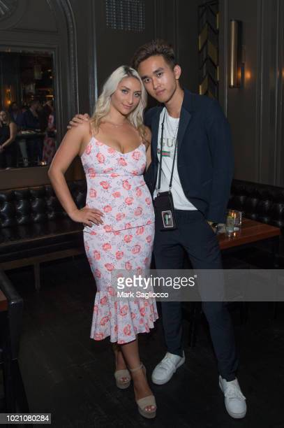 Anna Kassar and Kenny Chen attend Hamptons Magazine Celebration with Caroline Wozniacki Presented By Matthew Breitenbach of Compass Real Estate at...
