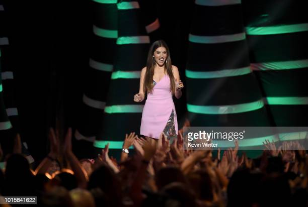 Anna Kendrick accepts the Choice Comedy Movie Actress for 'Pitch Perfect 3' onstage during FOX's Teen Choice Awards at The Forum on August 12 2018 in...