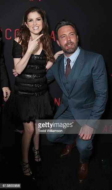 Anna Kendrick and Ben Affleck attend the Premiere Of Warner Bros Pictures' 'The Accountant' at TCL Chinese Theatre on October 10 2016 in Hollywood...