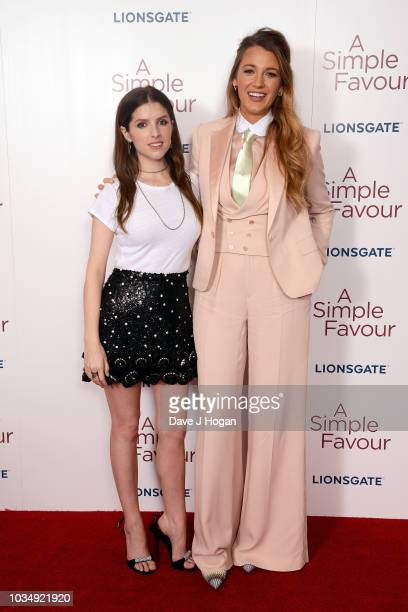 Anna Kendrick and Blake Lively attend the UK premiere of 'A Simple Favour' at BFI Southbank on September 17 2018 in London England