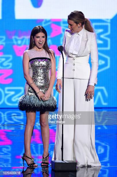 Anna Kendrick and Blake Lively speak onstage during the 2018 MTV Video Music Awards at Radio City Music Hall on August 20, 2018 in New York City.