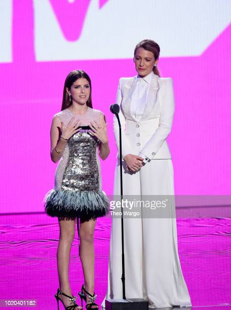 Anna Kendrick and Blake Lively speak onstage during the 2018 MTV Video Music Awards at Radio City Music Hall on August 20 2018 in New York City