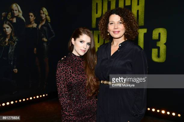 Anna Kendrick and Donna Langley Chairman of Universal Pictures attend the premiere of Universal Pictures' 'Pitch Perfect 3' at Dolby Theatre on...