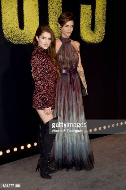 Anna Kendrick and Ruby Rose attend the premiere of Universal Pictures' 'Pitch Perfect 3' at Dolby Theatre on December 12 2017 in Hollywood California