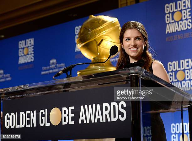 Anna Kendrick announces nominations for the 74th Annual Golden Globe Awards at The Beverly Hilton Hotel on December 12 2016 in Beverly Hills...