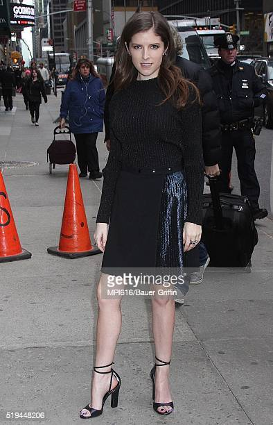 Anna Kendrick arrives at 'The Late Show With Stephen Colbert' on April 06 2016 in New York City