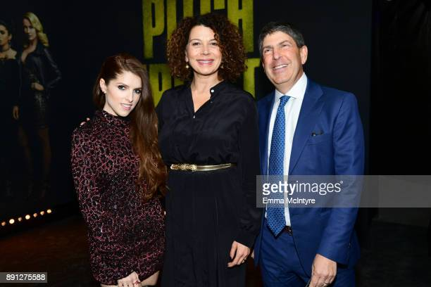 LR Anna Kendrick Donna Langley Chairman of Universal Pictures and Jeff Shell Chairman of Universal Filmed Entertainment Group attend the premiere of...