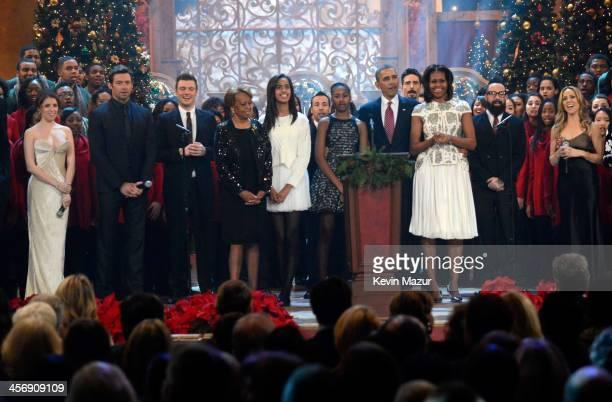 Anna Kendrick, Hugh Jackman, Nick Carter, Marian Shields Robinson, Malia Obama, Sasha Obama, US President Barack Obama, First Lady Michelle Obama,...