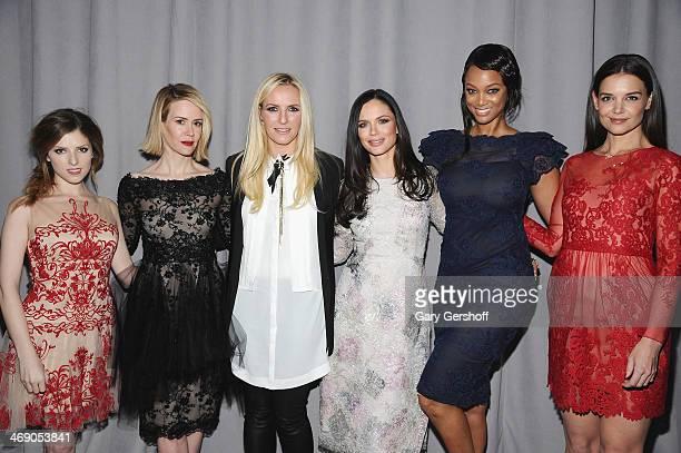 Anna Kendrick Sarah Paulson designers Keren Craig and Georgina Chapman Tyra Banks and Katie Holmes attend the Marchesa Show during MercedesBenz...
