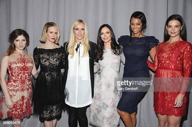 Anna Kendrick Sarah Paulson designers Keren Craig Georgina Chapman Tyra Banks and Katie Holmes attend the Marchesa Show during MercedesBenz Fashion...