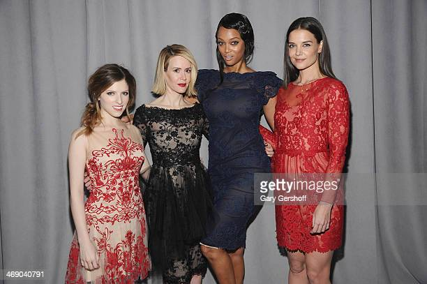 Anna Kendrick Sarah Paulson Tyra Banks and Katie Holmes attend the Marchesa Show during MercedesBenz Fashion Week Fall 2014 at New York Public...