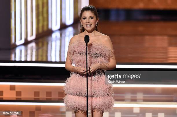 Anna Kendrick speaks onstage during the 61st Annual GRAMMY Awards at Staples Center on February 10 2019 in Los Angeles California
