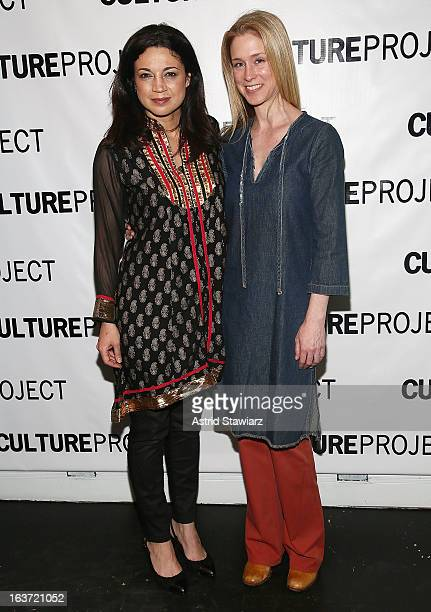 Anna Khaja and Hogan Gorman attend 'Shaheed The Dream And Death Of Benazir Bhutto' Off Broadway Opening Night at Culture Project on March 14 2013 in...