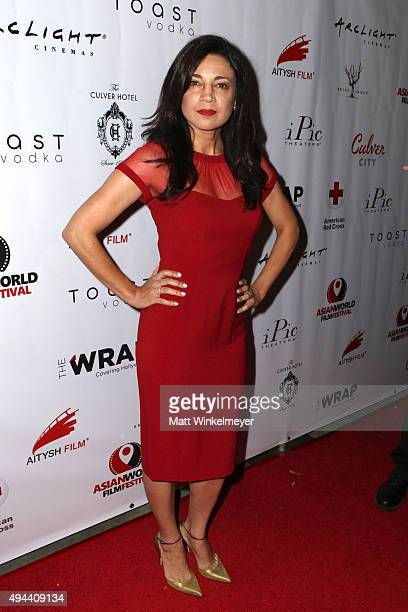 Anna Khaja arrives at the Asian World Film Festival opening night red carpet awards gala and film at The Culver Hotel on October 26 2015 in Culver...