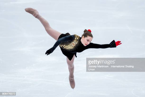 Anna Khnychenkova of Ukraine competes in the Ladies Short Program during day two of the European Figure Skating Championships at Megasport Arena on...