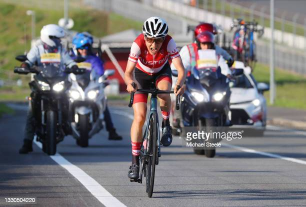 Anna Kiesenhofer of Team Austria in the breakaway during the Women's road race on day two of the Tokyo 2020 Olympic Games at Fuji International...
