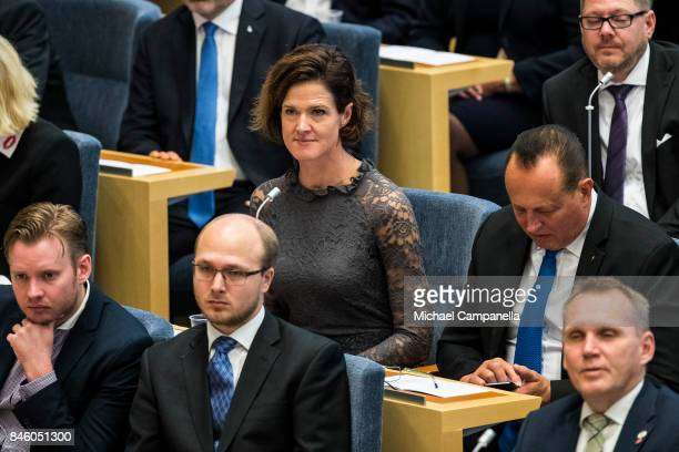Anna Kinberg Batra leader of the Moderate Party attends the opening of the Parliamentary session on September 12 2017 in Stockholm Sweden