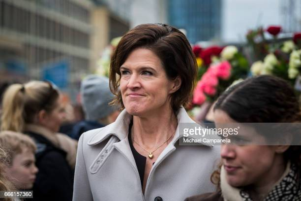 Anna Kinberg Batra leader of the Moderate party visits the scene of the terrorist truck attack in downtown Stockholm on April 8 2017 in Stockholm...