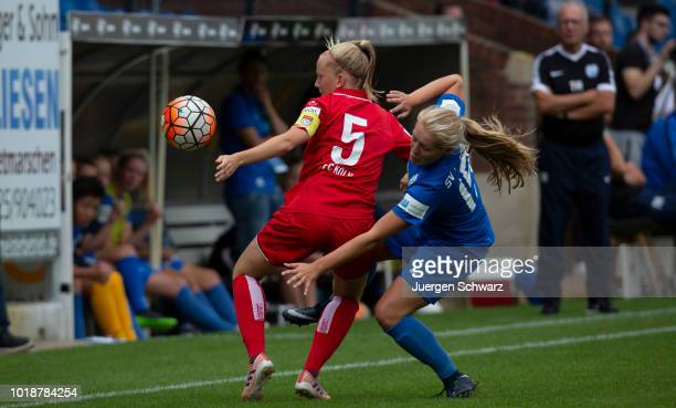 Anna Kirschbaum of Cologne and Pascalle Pomper of Meppen battle for the ball during the Second FrauenBundesliga match between SV Meppen and 1 FC...