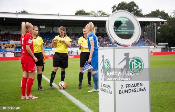 Anna Kirschbaum of Cologne Sarah Schulte of Meppen stand in front of referee Kathrin Heimann during the Second FrauenBundesliga match between SV...