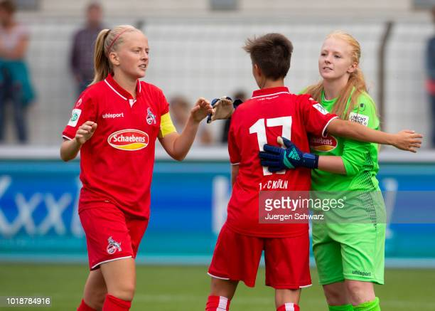 Anna Kirschbaum of Cologne Saskia Schreiner and Claudia Hoffmann of Cologne celebrate after the Second FrauenBundesliga match between SV Meppen and 1...