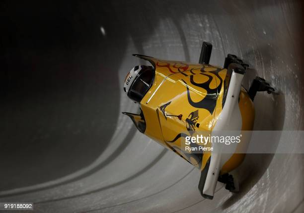 Anna Koehler and Erline Nolte of Germany make a run during the Women's Bobsleigh training at Olympic Sliding Centre on February 17 2018 in...