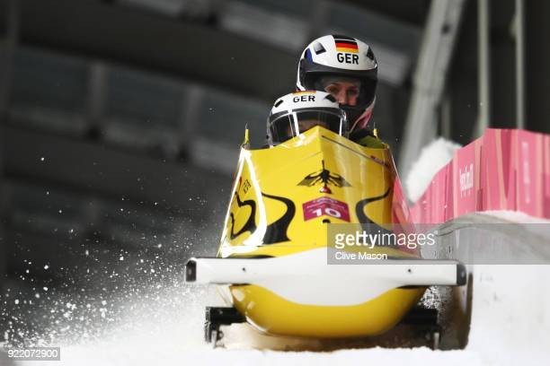 Anna Koehler and Erline Nolte of Germany react in the finish area during the Women's Bobsleigh heats on day twelve of the PyeongChang 2018 Winter...