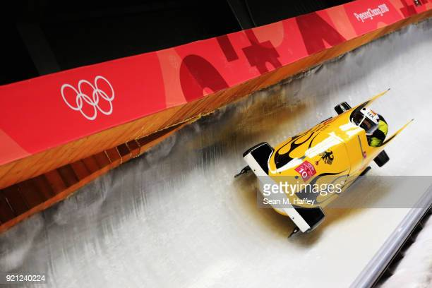Anna Koehler and Erline Nolte of Germany slide during the Women's Bobsleigh heats at the Olympic Sliding Centre on day eleven of the PyeongChang 2018...