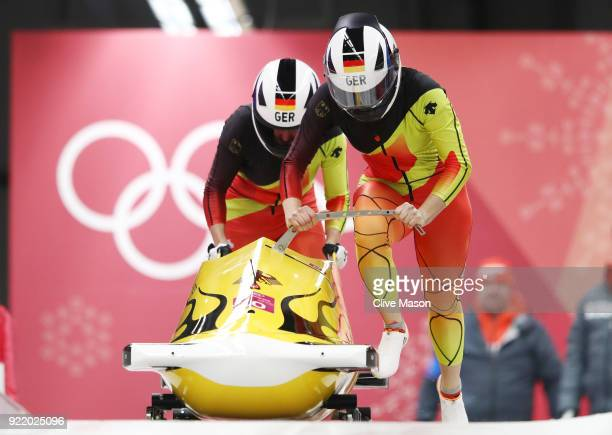 Anna Koehler and Erline Nolte of Germany slide during the Women's Bobsleigh heats on day twelve of the PyeongChang 2018 Winter Olympic Games at the...