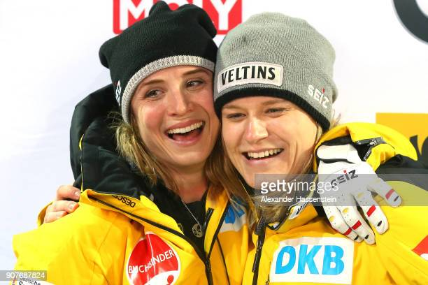 Anna Koehler and Lisette Thoene of Germany compete at Deutsche Post Eisarena Koenigssee during the BMW IBSF World Cup Women`s Bobsleigh World Cup on...