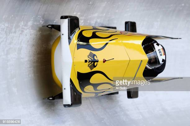 Anna Koehler of Germany in action during Bobsleigh practice ahead of the PyeongChang 2018 Winter Olympic Games at Olympic Sliding Centre on February...