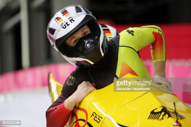 Anna Koehler of Germany slides during the Women's Bobsleigh heats on day twelve of the PyeongChang 2018 Winter Olympic Games at the Olympic Sliding...